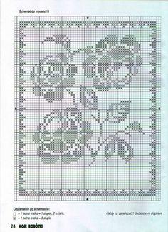 "Photo from album ""Moje robotki on Yandex. Crochet Diy, Easy Crochet Hat Patterns, Crochet Dollies, Crochet Books, Cross Stitch Patterns, Filet Crochet Charts, Crochet Motifs, Fillet Crochet, Crochet Tablecloth"