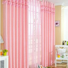 Girl Living Room Artificial Fiber Lace Curtains in Pink (Two Panels)