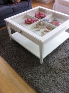 Coffee Table with Glass. We could fill it with so many different things! But maybe have wooden sides instead of open. Coffee Table With Storage, Table Furniture, Shadow Box Coffee Table, Ikea Table Tops, Ikea Coffee Table, Cool Coffee Tables, Black Coffee Tables, Diy Furniture Table, Ikea White Coffee Table