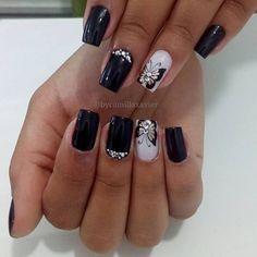 Black Nail Designs, Acrylic Nail Designs, Nail Art Designs, Nails Design, Silver Nails, Black Nails, Red Nails, Butterfly Nail Art, Trendy Nail Art