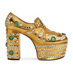 Crystal Studded Metallic Leather Loafer Gucci  #shoes #sandals Source: http://www.closetonthego.com/e-shop-product/215978/crystal-studded-metallic-leather-loafer/ © Closet On The Go