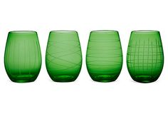 S/4 Medallion Stemless Goblets, Green on OneKingsLane.com  Love these in green!