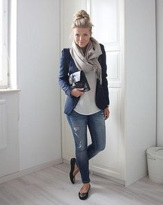 I have the blazer and the jeans. I need flats and an infinity scarf.