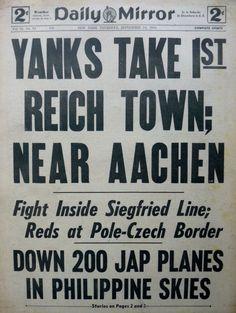 9-1944 September 14 YANKS TAKE 1ST REICH TOWN AACHEN - PHILIPPINES Daily Mirror