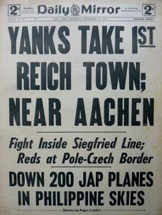 9-1944 September 14 YANKS TAKE 1ST REICH TOWN AACHEN - PHILIPPINES Daily Mirror