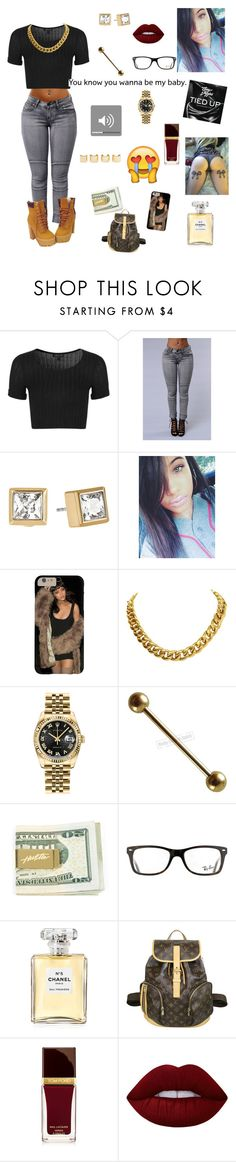 """""""work work work work work work u see me do me  - Faith"""" by lovebrezzy ❤ liked on Polyvore featuring Topshop, Timberland, Michael Kors, Luv Aj, CÉLINE, Rolex, Ray-Ban, Chanel, Louis Vuitton and Tom Ford"""