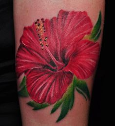 I don't normally like Hibiscus tattoos because they look so flat - but this one is beautiful by Joey Hamilton