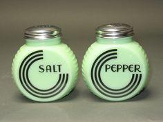 Vintage imitation jadite salt and pepper shakers.