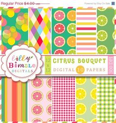 50 off Citrus digital papers with lemons limes by LillyBimble, $2.00