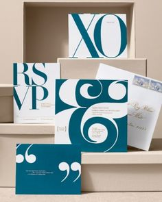 Fashion-Forward Invitation  Theres nothing quiet about this stationery suite that is inspired by the larger-than-life fonts used in 1950s fashion magazines. Combining big-statement designs (oversize ampersand and quotation marks) with understated, elegant colors (deep teal and burnished-gold engraving) is the key to pulling off this luxurious and infinitely cool look.