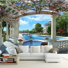 beibehang garden space to expand 3d Vision wallpaper mural TV background wall paper the living room sofa wall wallpaper modern
