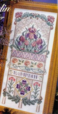 Le Jardin Silk Sampler, originally published in Just Cross Stitch. Uses Kreinik silk and metallic threads. Diy Embroidery, Cross Stitch Embroidery, Embroidery Sampler, Just Cross Stitch, Cross Stitch Flowers, Cross Stitch Designs, Cross Stitch Patterns, Feather Stitch, Metallic Thread