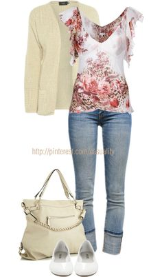 """Floral Blouse & Capri Jeans"" with different shoes! Pretty Outfits, Cool Outfits, Casual Outfits, Look Fashion, Fashion Outfits, Womens Fashion, Jeans Claro, Capri Jeans, Polyvore Outfits"