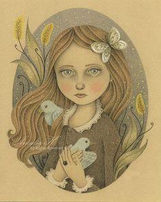 Impresión de dibujo a lápiz Original chica por TheWishForest, $18.00