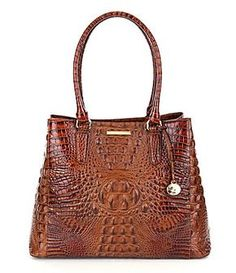 c26bad37cecb Brahmin Toasted Almond Collection Joan Crocodile-Embossed Tote