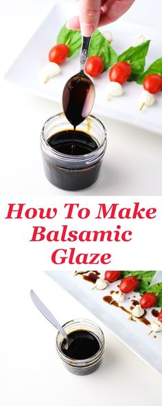 How To Make Balsamic Glaze with 2 easy ingredients! This is vast to drizzle over salads, pizza, or even ice cream! How To Make Balsamic Gl. Sauce Au Poivre, Vegetarian Recipes, Cooking Recipes, Vegetarian Sweets, Vegan Snacks, Salsa Dulce, Mets, Sauce Recipes, Syrup Recipes