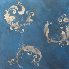 Chinois Leaves Wall Stencil | Royal Design Studio - Elegant Bathroom wall idea.