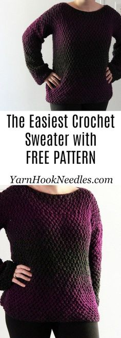 crochet patterns blusas The Easiest Crochet Pullover Sweater You'll Ever Make! - YarnHookNeedles - Want to make your first garment but are a little scared? Try this easy beginner crochet sweater pattern for FREE from YarnHookNeedles! Black Crochet Dress, Crochet Cardigan, Crochet Shawl, Easy Crochet, Crochet Baby, Knit Crochet, Crochet Sweaters, Crochet Tops, Crochet Shrugs