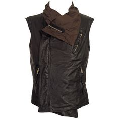 Gilet Zenith Biker ($555) ❤ liked on Polyvore featuring outerwear, vests, tops, jackets, steampunk, outofafrica, sleeveless leather vest, leather motorcycle jacket, leather biker vest and leather vest