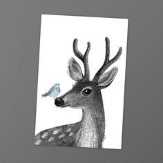 Замечательная открытка Юлии Григорьевой напоминает взрослым о детстве, а детям дает повод пофантазировать.   Портрет рогатого оленя с птичкой на носу.  Размер 10х15 см, печать на картоне 300 гр