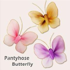 How to make Nylon Butterfly, from http://feedproxy.google.com/~r/craftgawker/~3/v4Ivb4xTqRI/