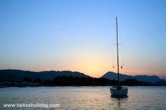 Sunset in Poros while sailing in the Argo-Saronic Gulf