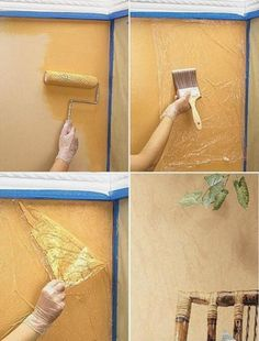finds for your inspiration! – Just Imagine – Daily Dose of Creativity - Wall decor idea -Crafty finds for your inspiration! – Just Imagine – Daily Dose of Creativity - Wall decor idea - Diy Wand, House Painting, Diy Painting, Faux Painting Walls, Wall Paintings, Painting Furniture, Sponge Painting, Painting Canvas, Mur Diy