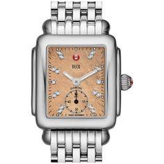 MICHELE 'Deco 16' Diamond Dial Watch with Bracelet, 29mm x 31mm
