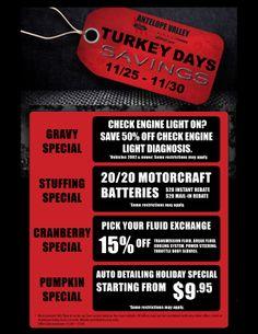 Turkey Days Savings at Antelope Valley Ford Lincoln Mazda and AV Quick Lane!