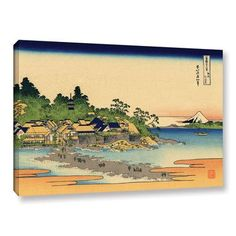 """ArtWall Enoshima in the Sagami Province by Katsushika Hokusai Painting Print on Wrapped Canvas Size: 24"""" H x 36"""" W"""