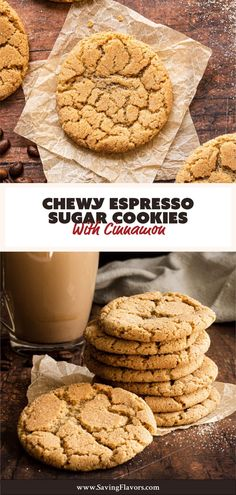 You will fall in love with this Chewy Espresso Sugar Cookies Recipe. Delicious soft and chewy snickerdoodle cookies without cream of tartar is a dream come true. You won't regret learning how to make this big batch of cookies. The dough is infused with ground coffee beans, cinnamon, and two types of sugar to achieve a full bodied and flavorful dessert. A perfect homemade gift for any get together. Sugar Free Desserts, Homemade Desserts, Fun Desserts, Dessert Recipes, Chewy Sugar Cookies, Sugar Cookies Recipe, Gourmet Recipes, Baking Recipes, Gourmet Foods