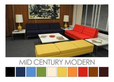 Mid Century Modern (20th century) colour palette. Now recognized as a unique design aesthetic, Mid Century Modern featured a colour palette of muted hues set within a framework of neutral hues: white, beige and dark brown. Colour Palette  © Zena O'Connor