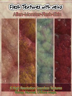 6 Flesh Seamless Textures with Veins.Now available at my Renderosity store. - A set of 6 Flesh Seamless Textures with Diffuse, Bump and Normal Maps. All tiles are 2500x2500 pixels x 300 dpi, including the maps. This product includes 24 textures including the maps. https://www.renderosity.com/…/-6-seamless-flesh-text…/112702 Perfect for digital artists who do texturing! #textures #Renderosity #alien #skin #veins #monster #digitalart #seamless