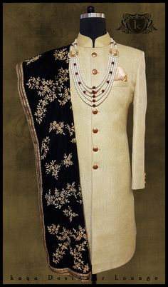 Traditional Wear Embroidered Sherwani Hand Embroidery Velvet Stole Offwhite Sherwani Ethnicwear Pocketsquare Mens Fashion Designerwear Designermenswear Designermade Indowestern Dapper Indianwear Indian Groom Wedding Weddingwear Bespoke Custommade Tailormade Handmade Classy Indianmenswear Festivelook Groomwear kayadesignerlounge kdllifestyle kayamenswear kaya Designer Lounge kdl Lifestyle Engagement Dress For Groom, Groom Wedding Dress, Groom Dress, Wedding Suits, Wedding Couples, Wedding Ideas, Mens Indian Wear, Indian Groom Wear, Indian Men Fashion