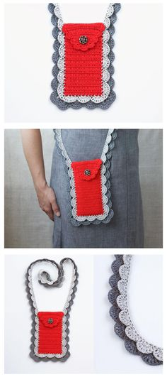 Red grey smartphone crossbody bag Cell phone pouch Back to school Crochet case Lace purse Gift for her Summer