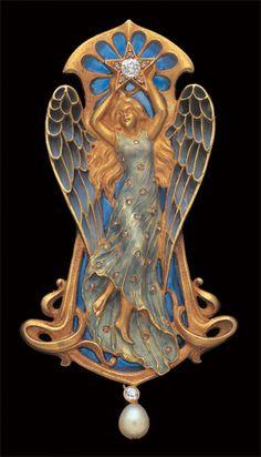 ANTOINE BRICTEUX 'Etoile' An Important Art Nouveau Pendant Gold Plique-à-jour enamel Diamond Pearl French, c.1900