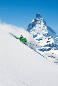 Skiing in the shadow of the Matterhorn, Zermatt, Switzerland. Zermatt's skiing is some of the best in the world. Its 153 miles of trails span three mountains—Klein Matterhorn, Gornergrat and Rothorn Zermatt, Ski Extreme, Extreme Sports, Alpine Skiing, Snow Skiing, Skiing In The Alps, Ski Freeride, Ski Magazine, Stations De Ski