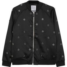 Zoe Karssen Black Star-embellished Satin Bomber Jacket - Size M (6.605 ARS) ❤ liked on Polyvore featuring outerwear, jackets, zoe karssen, blouson jacket, zipper jacket, satin bomber jacket and bomber style jacket