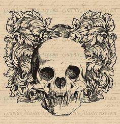 Downloadable sugar skull tattoo print