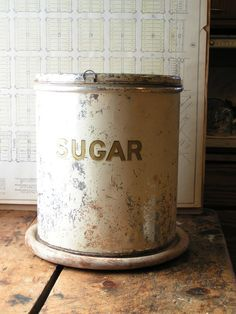 vintage sugar tin on Etsy shop