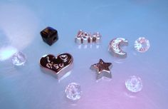 Silver Rhinestone Moon-Silver Star-and Black I love you heart Floating Charms-Moon Floating Charm Set- Memory Charm Set-Origami Locket Charm