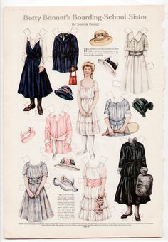 """Here is the deco-eraLadies' Home Journal magazine paper doll page:""""BETTY BONNET'S BOARDING SCHOOL SISTER ,""""by Sheila Young,from February 1916 (not a reproduction), uncut, in very good to excellent condition (see scan)."""