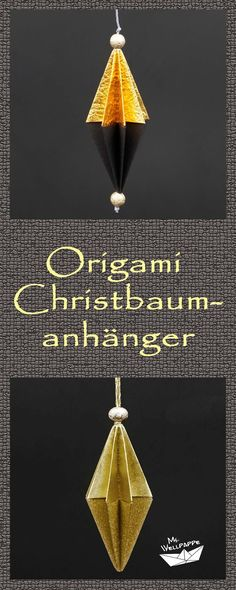 Origami Christmas tree decorations tinker for Christmas - make beautiful Christmas decorations yours Origami Christmas Tree, Origami Ornaments, How To Make Christmas Tree, Paper Ornaments, Christmas Makes, Christmas Tree Ornaments, Christmas Crafts, Christmas Christmas, Useful Origami
