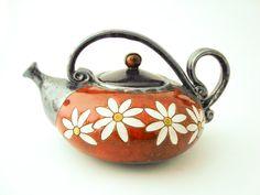 Flower Ceramic teapot 40oz Stoneware Teapot Pottery от Avanturine