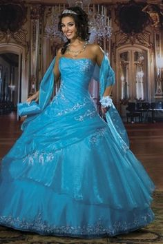 Gorgeous in Fresh Colored Quinceanera Dress in Asymmetric Tiered-skirt with Pleats