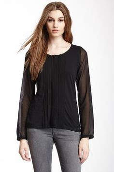 Flutter Pleated Long Sleeve Blouse