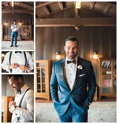 Groom looking quite dashing in his navy blue suit and black bow tie. Wedding Floral and Event Design: Posh Peony Floral and Event Design.