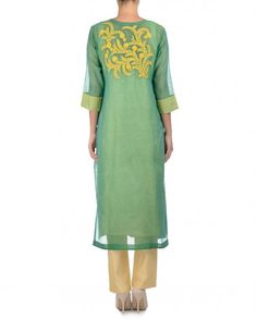 Fern green straight fit long kurta with floral thread embroidery and French knot embroidery.  Round neckline with hook and eye placket. Three quarter sleeves. Wash Care: Dry clean onlyMatching trouser pants, sleeveless slip and scarf includedClosure: Zip at side