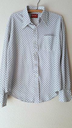 Exeter Shirt Size Large Atomic Geometric Print MOD Mens Vintage 60s Disco