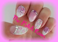 vintage, chic, roses, lavender, diamantes, glitter, freehand nailart, gel polish,natural nails